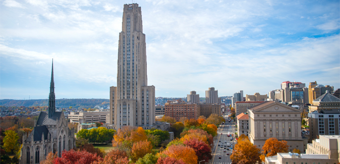 Cathedral of Learning photo in the fall