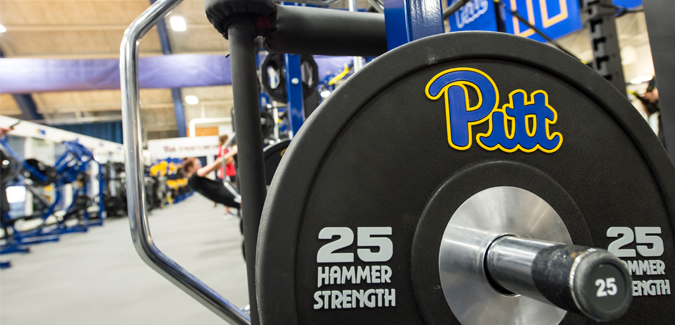 Weights at a gym at Pitt's fitness facilities