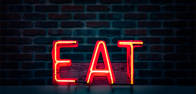 Red neon eat sign