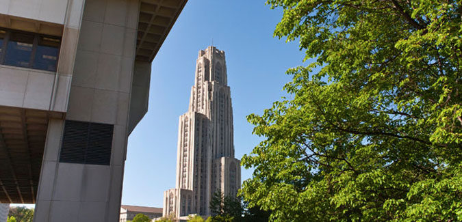 Exterior view of Cathedral of Learning from Posvar Hall