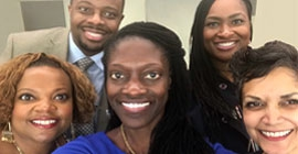 Dean Valerie Kinloch takes a selfie with colleagues