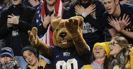 Students and Roc, the Pitt Panther, cheer at a Pitt game