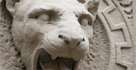 Head of Pitt Panther at Cathedral of Learning fountain