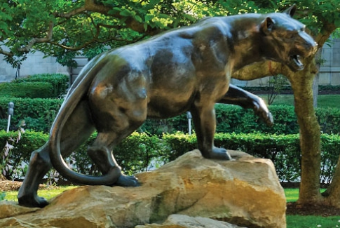 A Pitt Panther statue, located on the Pittsburgh campus